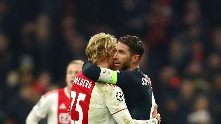 Ramos was booked for a foul on Ajax forward Kasper Dolberg