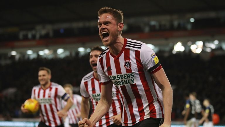 Richard Stearman celebrates scoring for Sheffield United