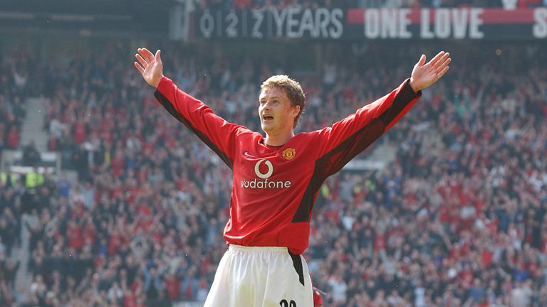 Solskjaer celebrates scoring Man Utd's fourth goal of the match in their March 2003 thrashing of Liverpool