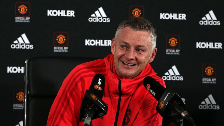 Manchester United  caretaker manager Ole Gunnar Solskjaer speaks during a press conference at Aon Training Complex on February 22, 2019