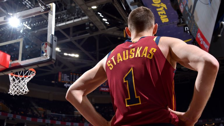 Nik Stauskas made his Cleveland Cavaliers debut against the New York Knicks on Monday night