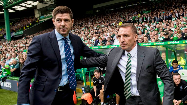 Steven Gerrard lost out to Brendan Rodgers in his first Old Firm encounter