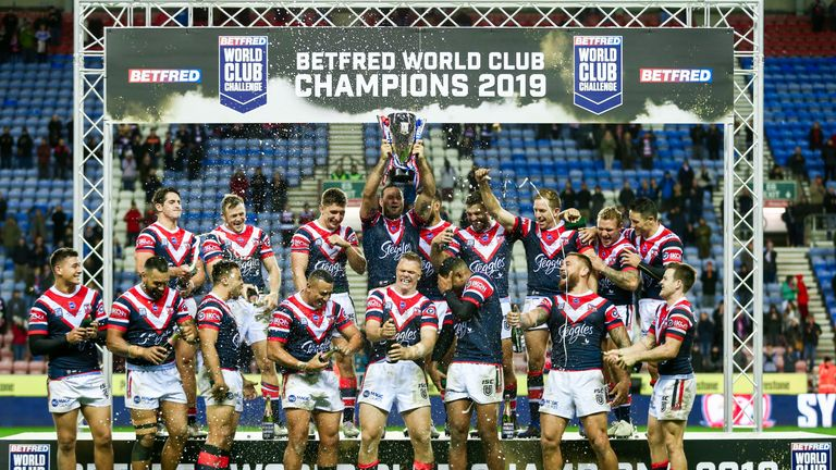 Sydney Roosters' celebrate winning the World Club Challenge.