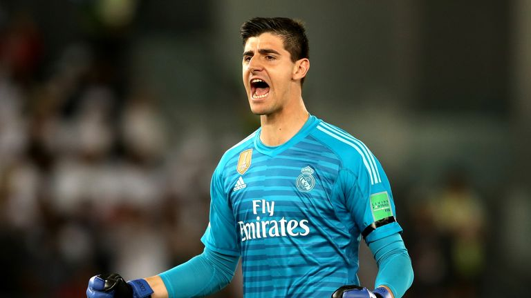 Thibaut Courtois during the FIFA Club World Cup UAE 2018 Final between Al Ain and Real Madrid at the Zayed Sports City Stadium on December 22, 2018 in Abu Dhabi, United Arab Emirates.