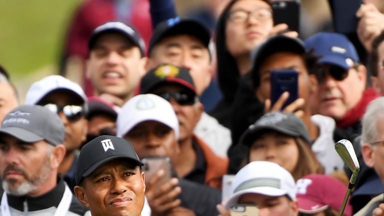 Tiger Woods in action during the final round at the Genesis Open