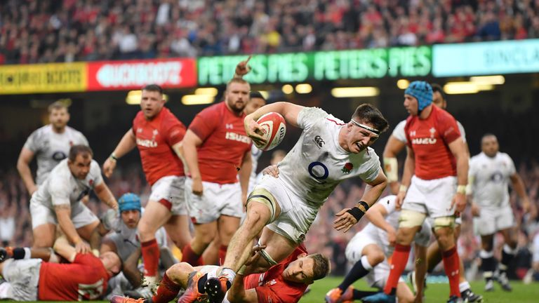 England's Tom Curry closes in on the line at the Principality Stadium