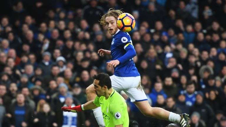 Tom Davies scored the pick of the goals as Everton thrashed Man City 4-0 at Goodison Park in January 2017