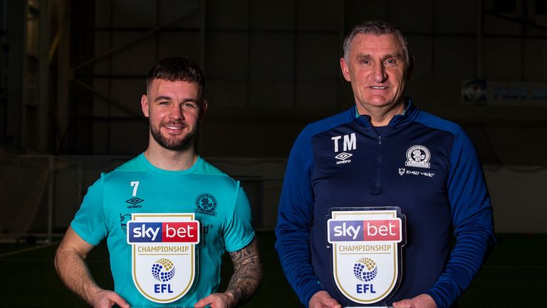 Blackburn pair Adam Armstrong and Tony Mowbray have won the Sky Bet Championship monthly awards for January
