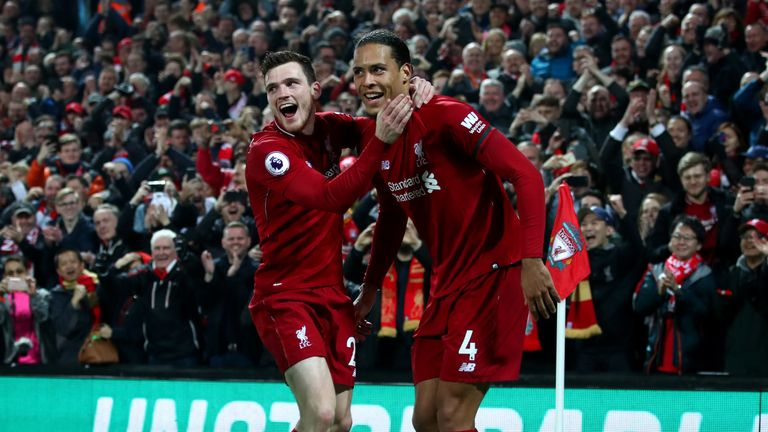 Virgil van Dijk scored twice as Liverpool thrashed Watford on Wednesday
