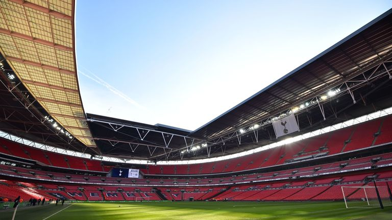 Wembley Stadium ahead of the Premier League match between Tottenham Hotspur and Newcastle United