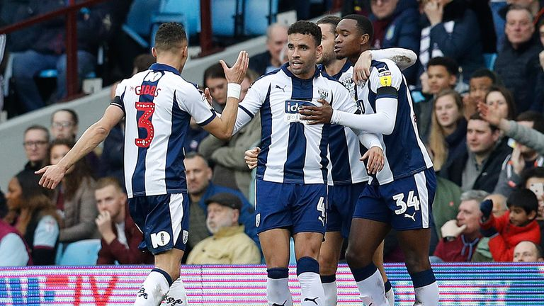 Hal Robson-Kanu celebrates scoring West Brom's first goal against Aston Villa