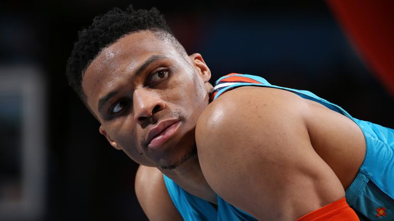 OKLAHOMA CITY, OK - FEBRUARY 5: Russell Westbrook #0 of the Oklahoma City Thunder looks on during the game against the Orlando Magic on February 5, 2019 at the Chesapeake Energy Arena in Oklahoma City, Oklahoma.  NOTE TO USER: User expressly acknowledges and agrees that, by downloading and or using this photograph, User is consenting to the terms and conditions of the Getty Images License Agreement. Mandatory Copyright Notice: Copyright 2019 NBAE  (Photo by Zach Beeker/NBAE via Getty Images)
