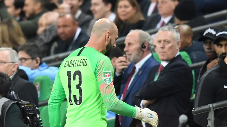 Willy Caballero returns to his seat as Kepa Arrizabalaga refuses to be substituted