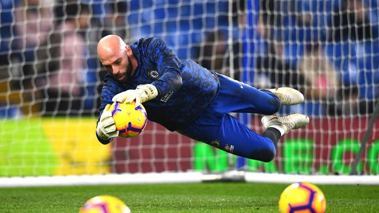 Willy Caballero warms up prior to the Premier League match against Tottenham