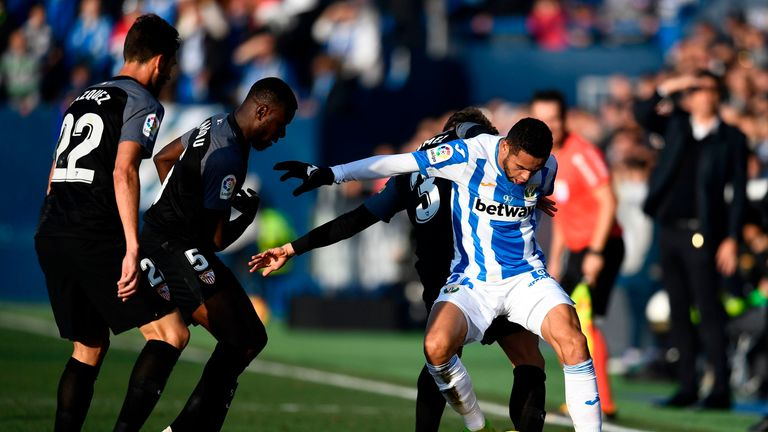 Youssef En-Nesyri scored the first ever La Liga hat trick for Leganes in their 3-0 success against Real Betis