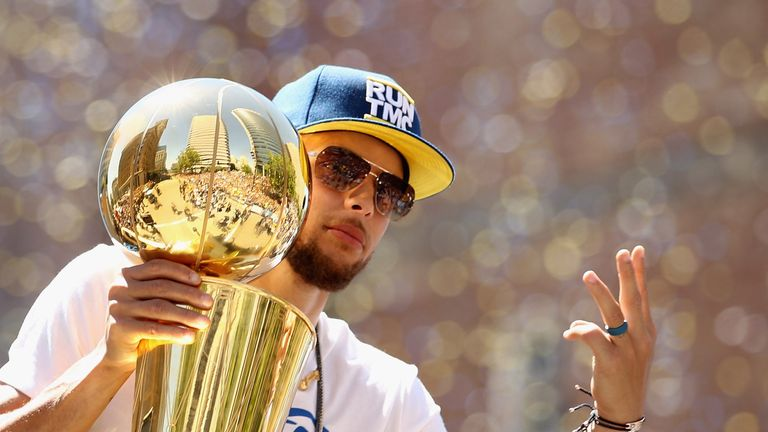 Stephen Curry celebrates after the Golden State Warriors' triumph in the NBA Finals