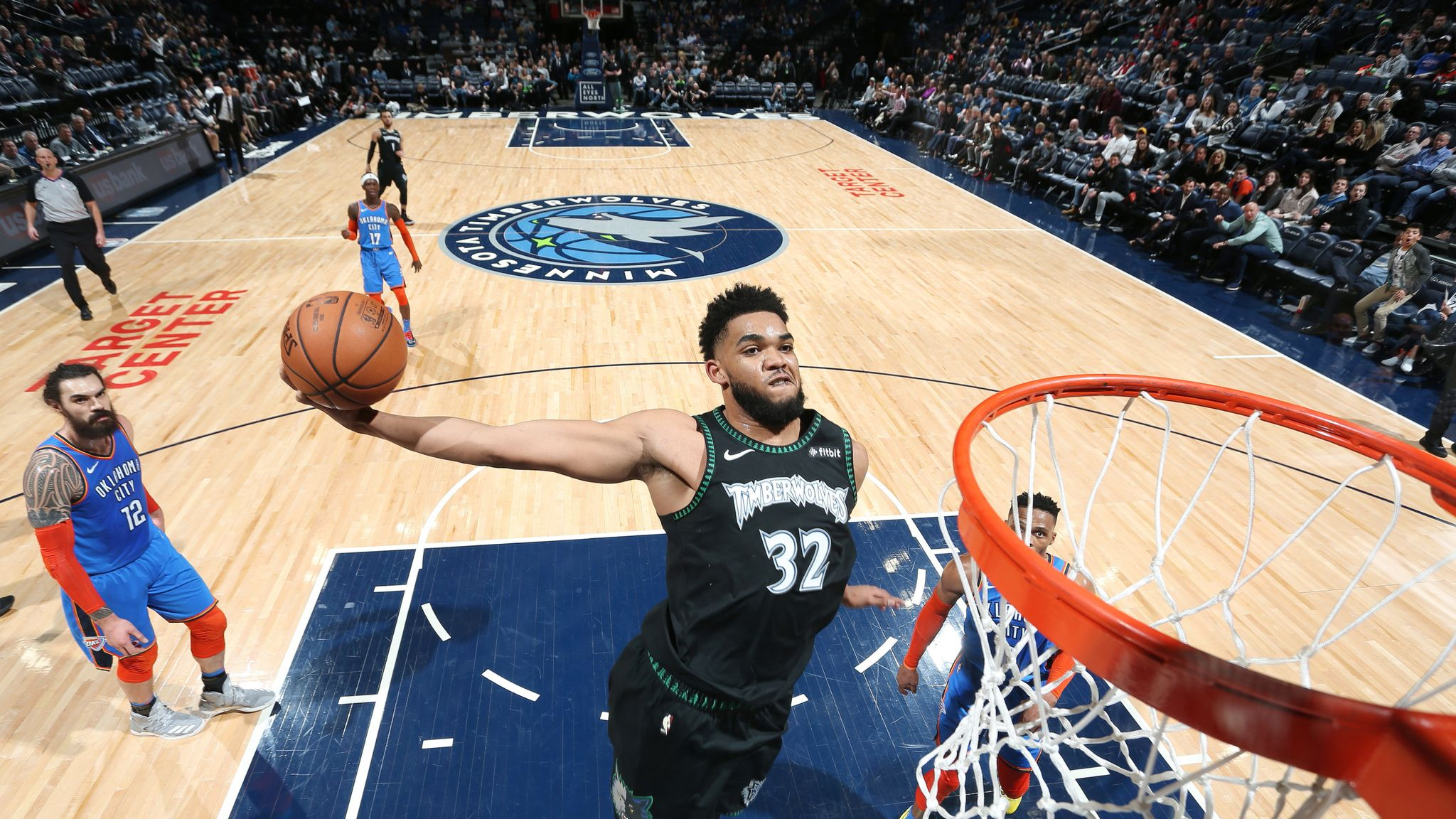 Karl Anthony Towns Throws Down Huge Dunk As Minnesota Timberwolves