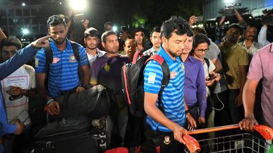The Bangladesh cricket team arriving home after their tour in New Zealand was cancelled following deadly mosque shootings