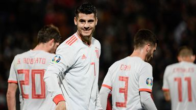 Alvaro Morata celebrates his first goal against Malta