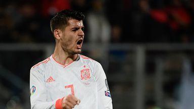 Spain's Alvaro Morata reacts after scoring his second goal against Mallta