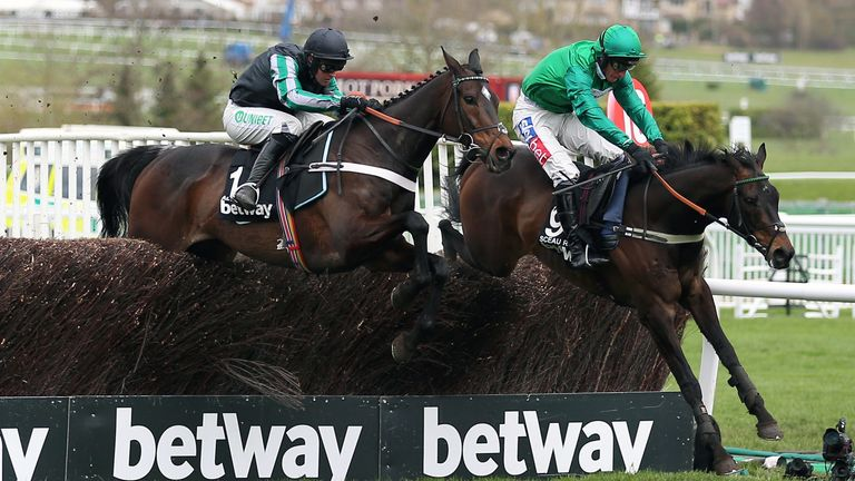 Altior trails Sceau Royal at the last in the Betway Queen Mother Champion Chase
