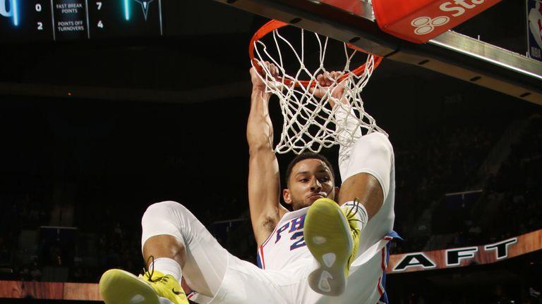 Ben Simmons dunks against the Charlotte Hornets