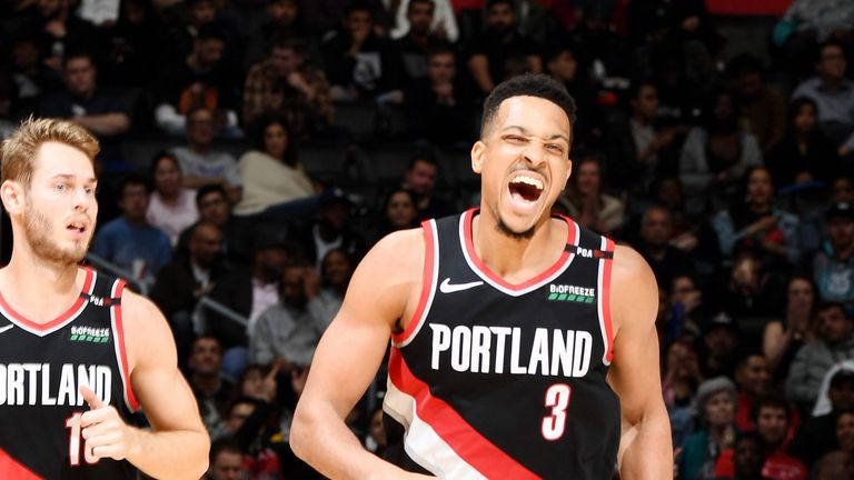 CJ McCollum celebrates during Portland's win over the Los Angeles Clippers