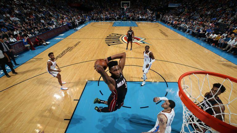 Derrick Jones Jr soars for a huge two-handed slam against the Oklahoma City Thunder