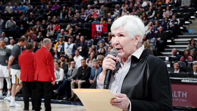 Utah Jazz owner Gail Miller addresses her team's fans before tip-off against Minnesota