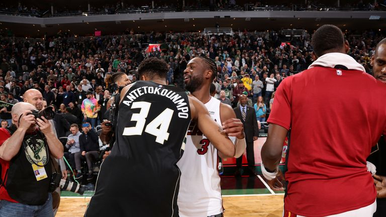 Giannis Antetokounmpo embraces Dwyane Wade after Milwaukee  39 s win over  Miami c7589c030