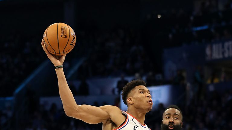 Giannis Antetokounmpo drives at James Harden during the All-Star Game