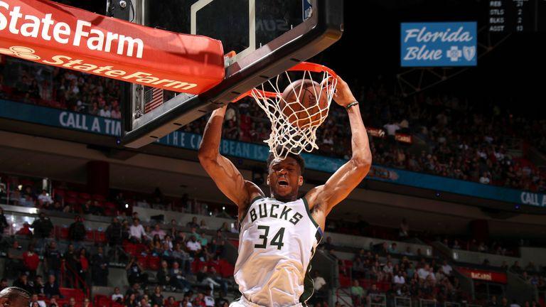 Giannis Antetokounmpo dunks with authority against Miami