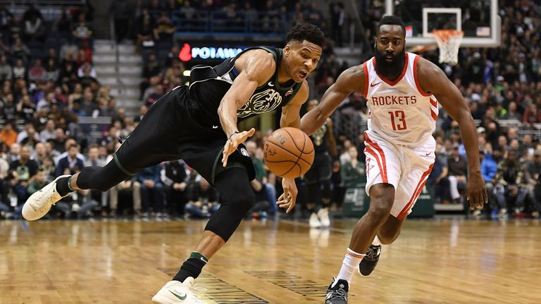 Giannis Antetokounmpo and James Harden chase possession