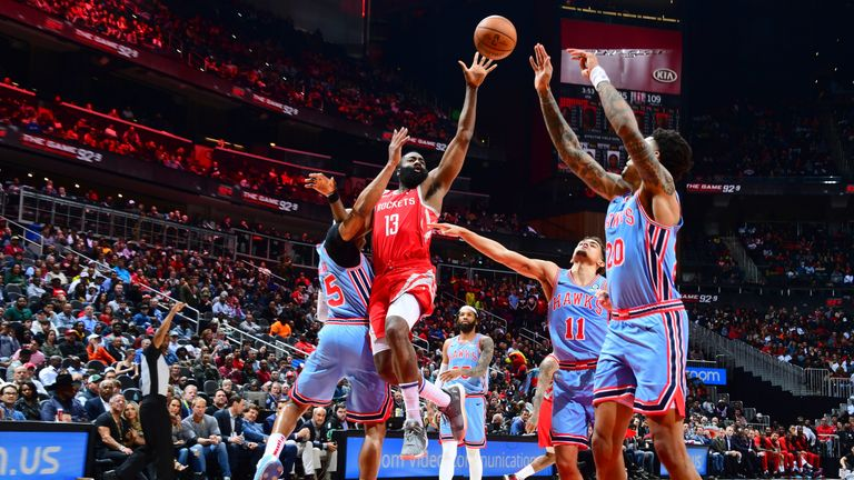 James Harden lofts a floater against the Atlanta Hawks