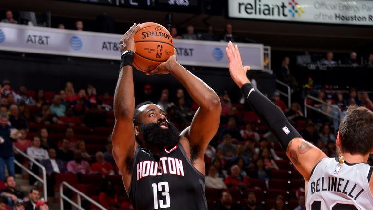 James Harden fires a jump shot en route to a career-best-equalling 61 points against San Antonio