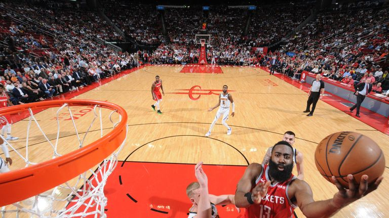 James Harden rises to score during the Rockets' win over Denver