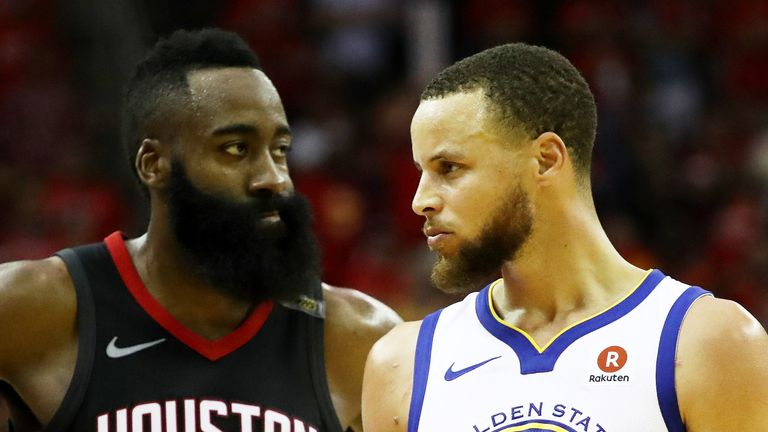 James Harden faces off with Stephen Curry