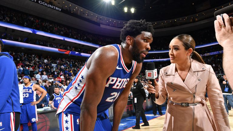 Joel Embiid shares his thoughts after leading the 76ers to victory over the Celtics