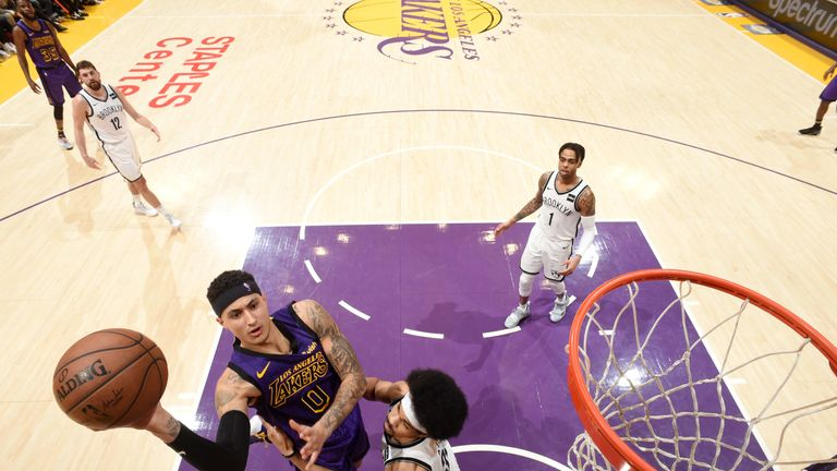 Kyle Kuzma shoots during the Los Angeles Lakers' loss to the Brooklyn Nets