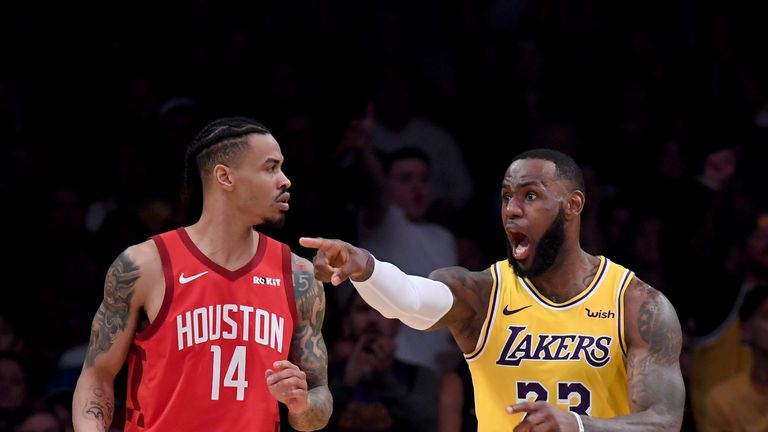 LeBron James appeals for a call against the Houston Rockets