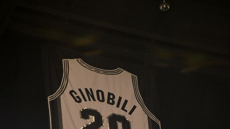 info for 25502 15ba2 San Antonio Spurs retire Manu Ginobili's jersey during ...