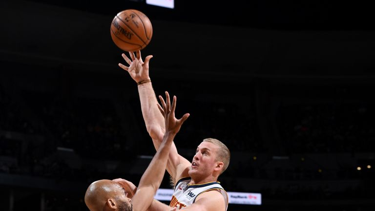 Mason Plumlee lofts a jump hook against Minnesota