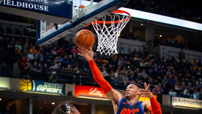 Russell Westbrook finishes at the rim