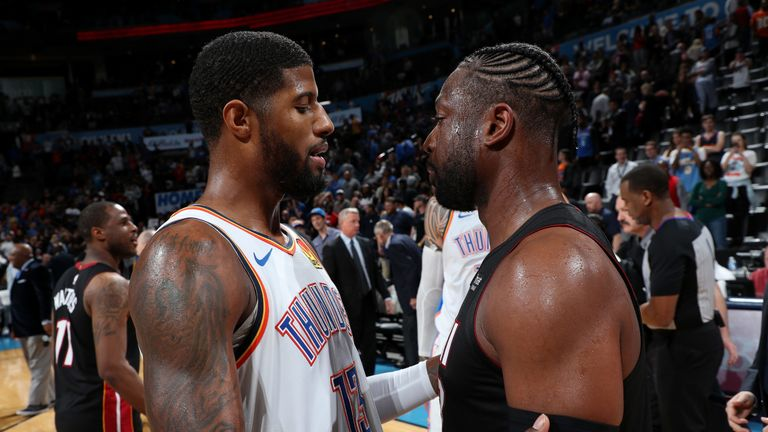 Paul George congratulates Dwayne Wade after the Heat defeated the Thunder