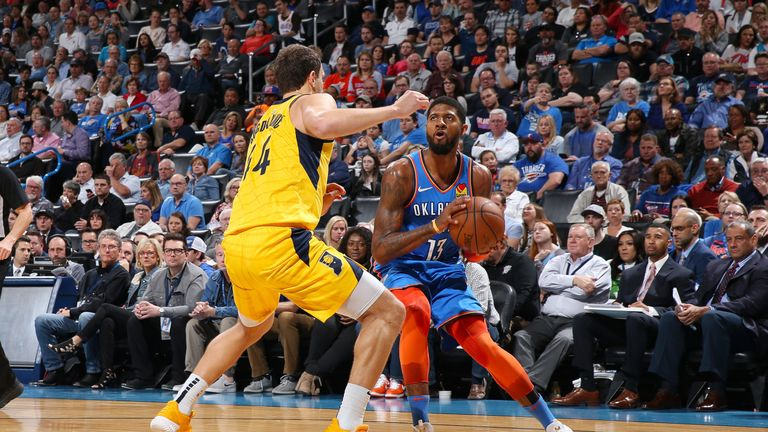 b08345b52773 Paul George hits over-the-backboard  And 1  floater as Oklahoma City Thunder  defeat Indiana Pacers