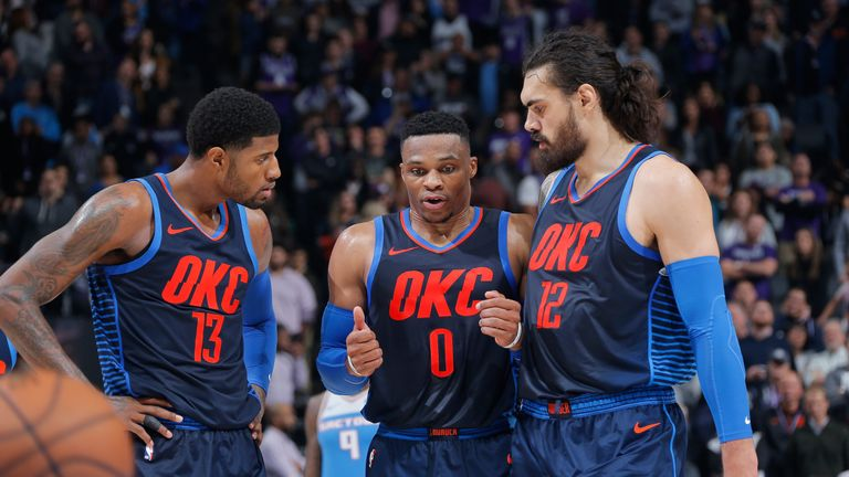 Paul George, Russell Westbrook and Steven Adams in action for the Oklahoma City Thunder