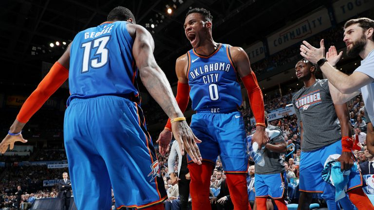 Paul George and Russell Westbrook celebrate during the Thunder's win against Brooklyn