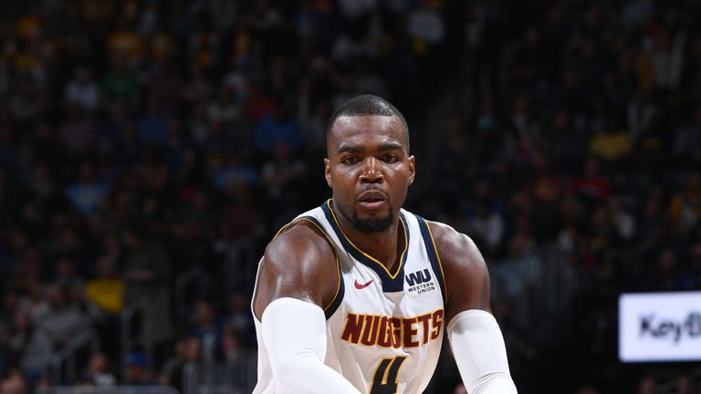 Paul Millsap in action for the Nuggets against Minnesota