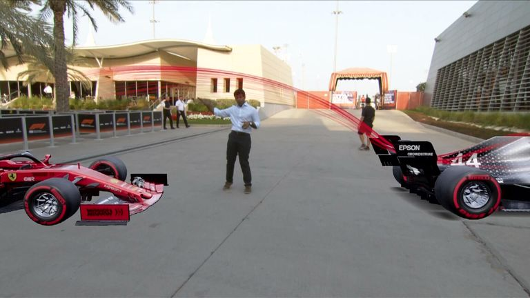 Sky Sports F1's Karun Chandhok explains the airflow coming of the rear wing of both the Ferrari and Mercedes.