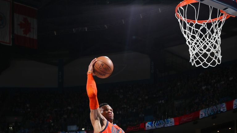 Russell Westbrook soars for a dunk against the Dallas Mavericks